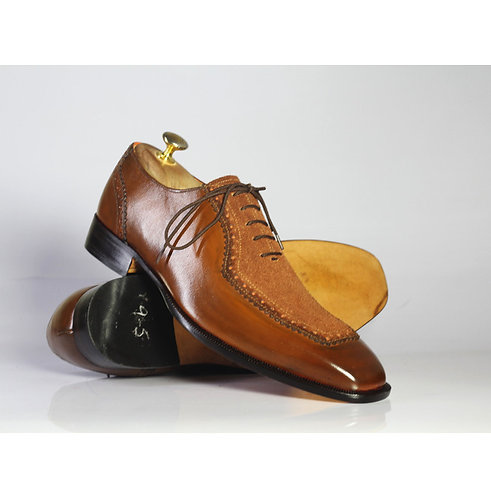 Mens Brown Square Toe Leather Suede Handmade Stylish Fashion Shoes