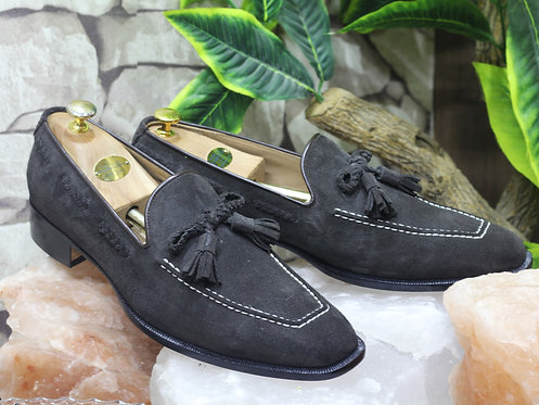 Handmade Men's Black Suede Tussles Loafers Oxfords Party Shoes