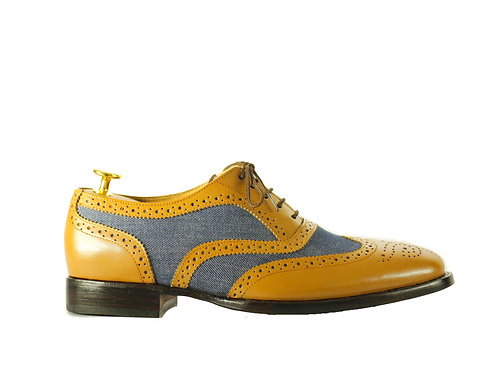 Men's Leather Denim Wing Tip Brogue Shoes, Dress Shoes