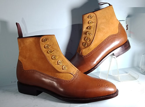 Men's Brown Boot Leather Suede Ankle Button Top Dress Boot