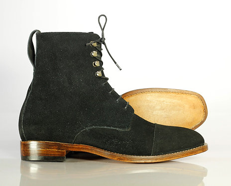 Ankle Hifh Cap Toe Black Leather Suede Boot
