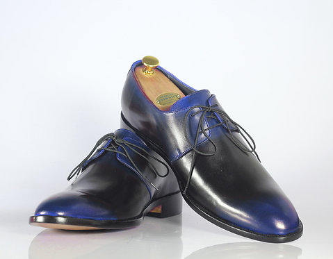 Handmade Men's Blue Lace Up Oxford Shoes