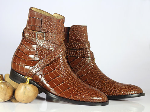 Handmade Men's brown Jodhpurs Alligator Texture Dress Ankle boots