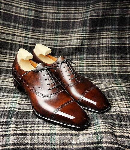Bespoke Men Cap Toe Brown Oxford Leather Shoes