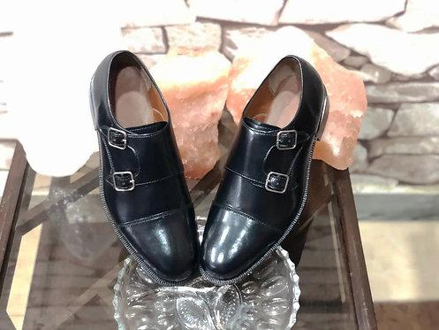 Handmade Men's Black Cap Toe Double Buckle Oxfords Party shoes