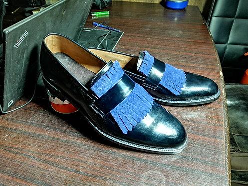Handmade Men Black & Blue Fringe Leather Suede Oxford Shoes