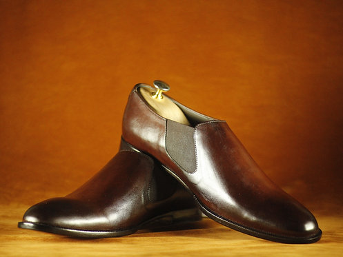 Bespoke Men Chelsea Brown Oxford Leather Shoes