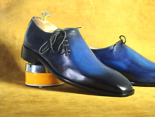 Royal Blue Side Lace Up Leather Shoes