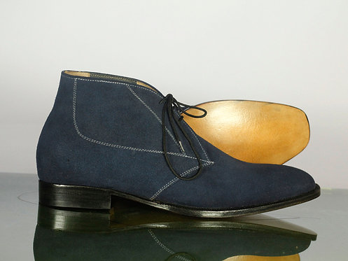 Navy Blue Lace Up Leather Suede Chukka Boot