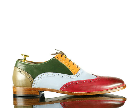 Multi color Men Leather Shoes, Dress Wing tip shoes