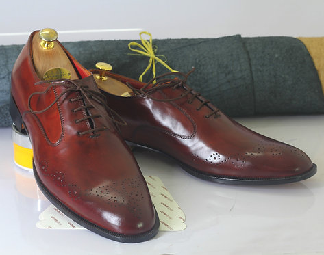 Lace Up Burgundy Brogue Leather Shoes