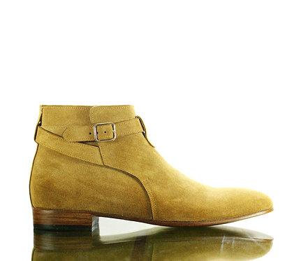 Men's Beige Jodhpurs Leather Boots Buckle Designer Boots