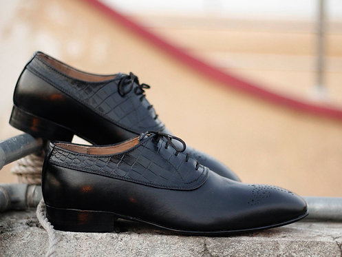 Handmade Men Black Brogues Toe Leather Oxford Shoes
