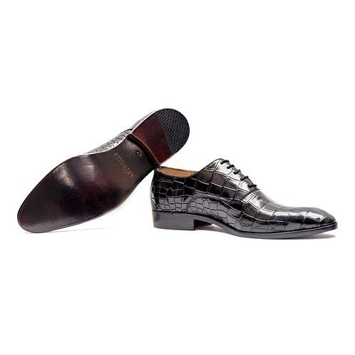 Pure Black Lace Up Leather Alligator Texture Men's Shoes