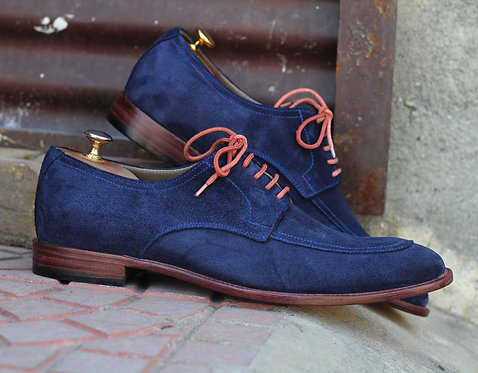 Navy Blue Lace Up Leather Suede Shoes