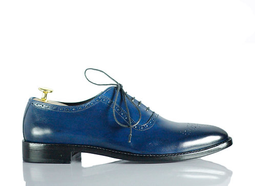 Handmade Men's Navy Blue Whole Cut Shoes Shoes