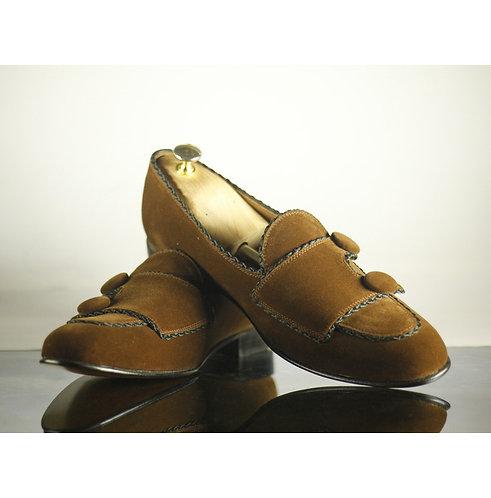 Men's Brown Double Monk Strap Velvet Shoes Handmade Retro Elegant Shoes