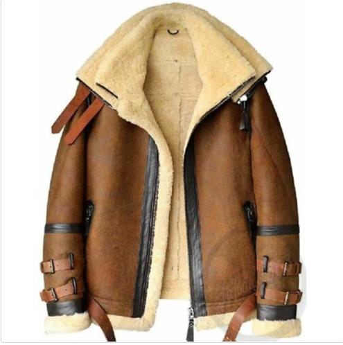 Men's Brown B3 RAF Flight Bomber Aviator Real Sheepskin Leather Shearling Jacket