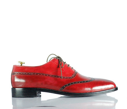 All leather Men Burgundy Shoes Wing Tip Shoes