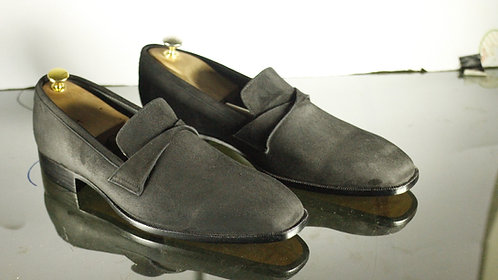 Handmade Men's Penny Gray Suede Loafers Dress Shoes