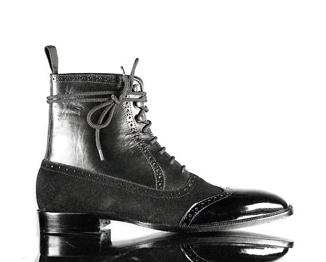 Men's Handmade  Desert Leather Boots in Black