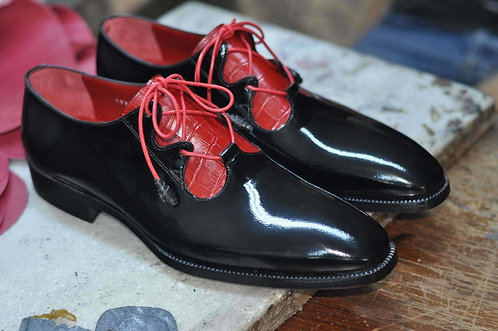 Black and Red Italian Leather Luxury Hand Polished Shoes