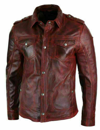 Men's Real Lambskin Genuine Leather Shirt Stylish Biker Shirt Vintage Jacket Ant
