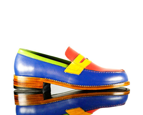Multi Color Bespoke Men's Slipper Leather Shoes