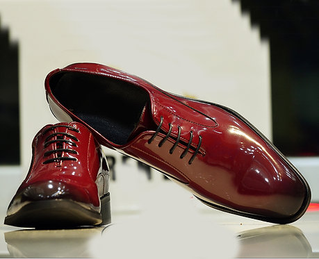 Hand Painted Burgundy Lace Up Patent Leather Shoes