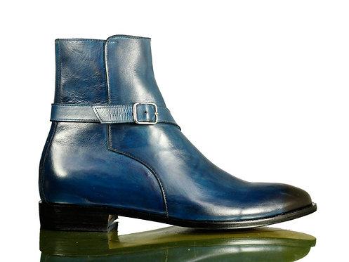 Men Navy Blue Jodhpurs Leather Buckle Boot