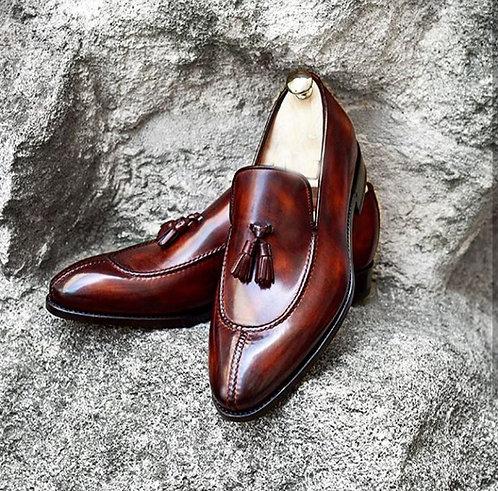 Split Toe Tasseled Burgundy Leather Loafers