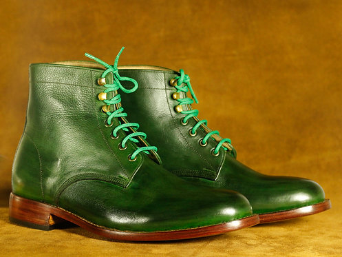 Ankle High Bottle Green Lace Up Leather Boot