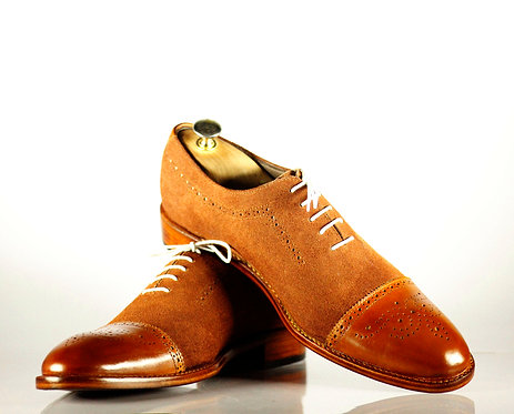 Handmade Tan Cap Toe Dress Leather Suede Men Shoes