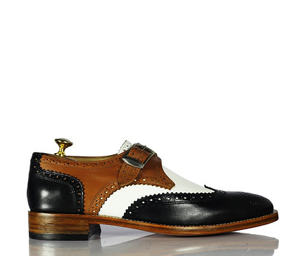 New Handmade Men Black Brown White Monk Leather Shoes