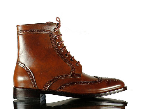 Men's Brown Ankle High Leather Boots