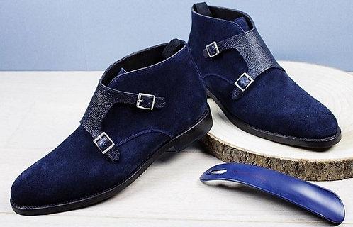 Alligator Texture Navy Blue side Buckle Chukka Velvet Boot
