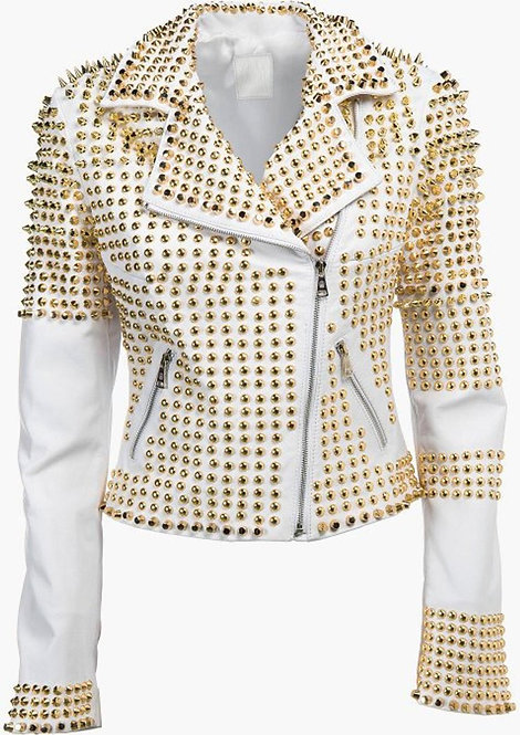 Man White Leather Jacket, Steampunk Clothing Golden Studded Punk Jacket
