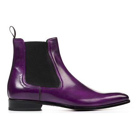 Men's Purple Chelsea Boots Slip On Leather Dress Boots