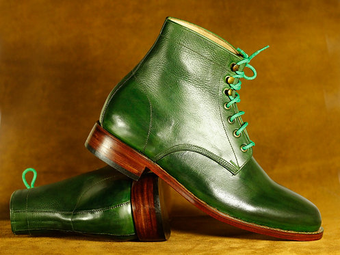 Green Men's Handmade Chukka Lace Up Leather Boots