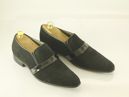 Handmade Black Suede Loafers Stylish, Men Dress Shoes