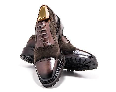 Cap Toe Leather Suede Lace Up Men's Shoes