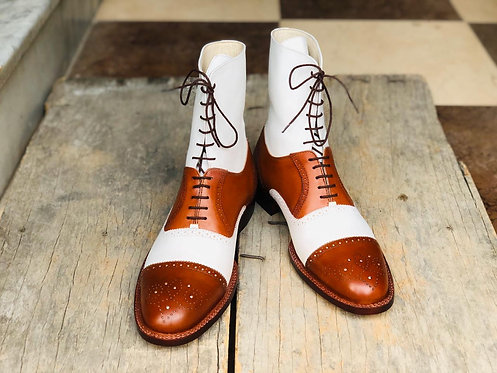 Men's Cap Toe Ankle Leather Boot White & Brown Dress Boot