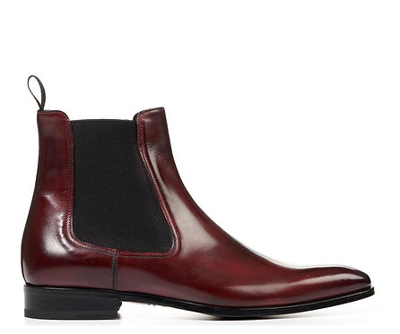 Burgundy Men's Chelsea Boots Slip On Leather Dress Boots
