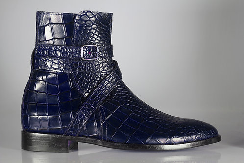 Ankle High Blue Jodhpurs Alligator Texture Leather Boot