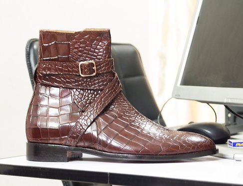 Handmade Brown Ankle High Alligator Texture Leather Jodhpurs Boot