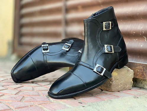 Beautiful Black Ankle High Monk Boot