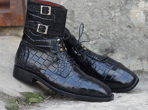 Oxford Hand Crafted Black Alligator Monk Leather Boot