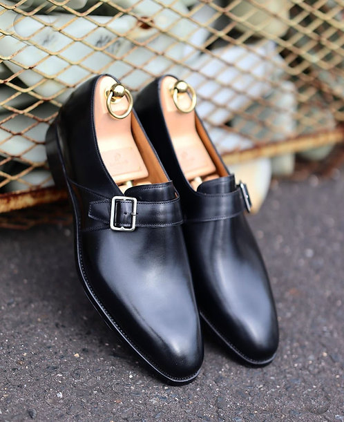 Whole Cut Black Side Buckle Strap Leather Shoes