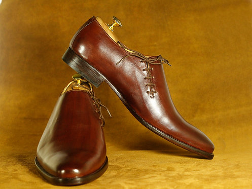 Side Lace Up Burgundy Formal Dress Leather Shoes