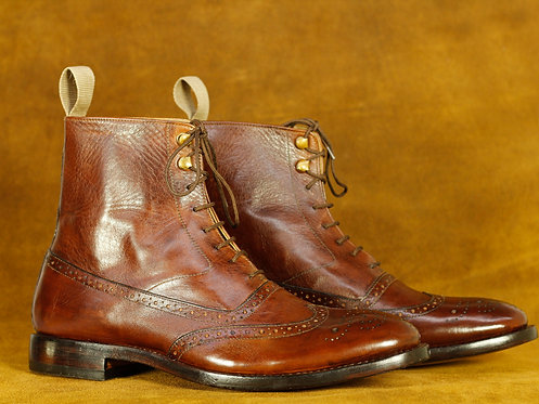 Oxford Brown Wing Tip Ankle High Leather Boot